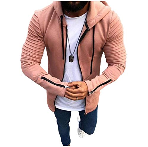 Cardi Coat Full Men's Outwear Zip Energy Hood Long Jackets Ruffle Pink Sleeve q0aygB