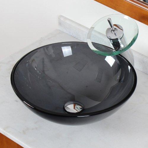 ELITE Bathroom Clear Black Color Glass Vessel Sink & Chrome Waterfall Faucet (Black Clear Sink)