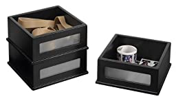 Victor Wood Midnight Black Collection, Mini Stacking Bins (3-Pack), Black, Model 8401-5