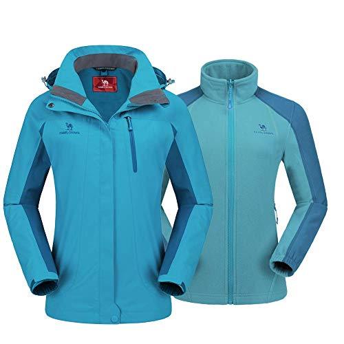 CAMEL CROWN Women's Outdoor Sports Jacket 3 in 1 Ski Waterproof Mountain Coat Snow Windproof Hooded with Inner Warm Fleece Breathable ()