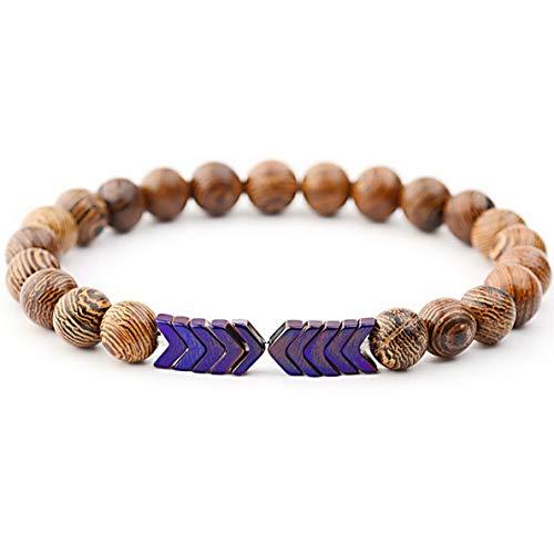 (Mikash Natural Hematite Sacred Arrow Wooden Beads Mens Women Bracelets Jewelry Bangle | Model BRCLT - 39414 |)