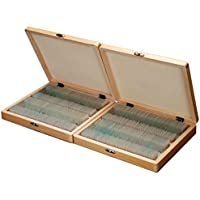 AmScope PS200 Basic Biology Prepared Slide Set for Student and Homeschool Use, Set of 200 Prepared Glass Slides, Includes Fitted Wooden Storage Box