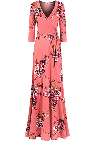 Bon Rosy Women's MadeInUSA 3/4 Sleeve V-Neck Printed Maxi Faux Wrap Floral Dress Summer Wedding Guest Party Bridal Baby Shower Maternity Nursing Blush L