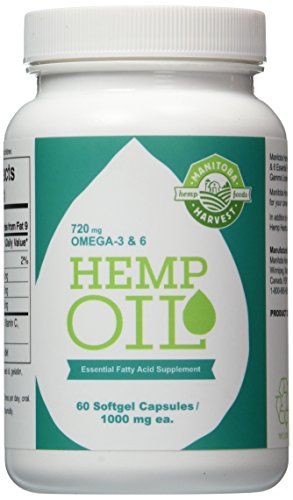 Manitoba Harvest Hemp Foods Hemp Oil Soft Gels, 1000 mg, 60 Count (2 Bottle Pack) -