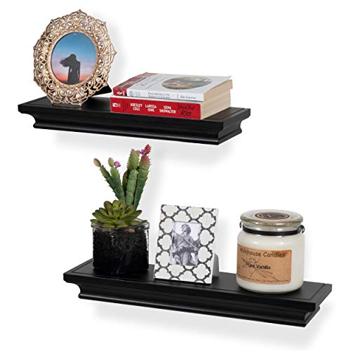 Crown Bracket - brightmaison Crown Molding Floating Shelves Picture Ledge - 2 Set Shelf - for Frames Book Display Décor with Concealed Metal Bracket for Stable Wall Mount (Black)