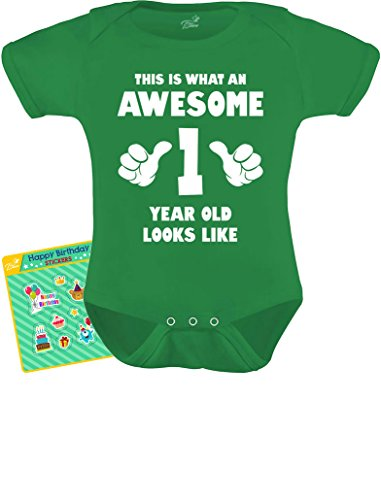 TeeStars - This is What an Awesome One Year Old Looks Like Funny Baby Bodysuit 18M Green