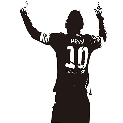 Fangeplus(TM DIY Removable Messi Soccer Football Star Art Mural Vinyl Waterproof Wall Stickers Kids Room Decor Nursery Decal Sticker Wallpaper 22.8''x32.2''