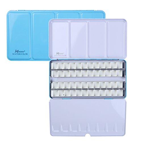 - MEEDEN Empty Watercolor Tins Box Palette Paint Case, Large Blue Tin with 48 Pcs Half Pans