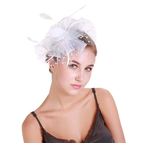 1bd234a09db Galleon - Women s Tea Party Hat Wedding Hat Fascinate Hats Pillbox Hat  Flower Cocktail British Bowler Hat