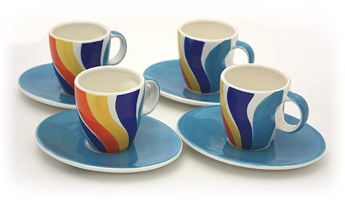 Hues & Brews 8 Piece Wave Espresso Cups and Saucers Set, 3.5 oz. ()