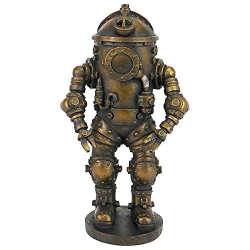 Design Toscano Tritonia Atmospheric Diving Suit Steampunk Statue, 8 Inch, Antique Brass