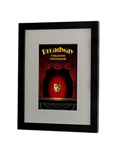 Broadway Playbill Frame -Satin Black Finish with Gray Mat ()
