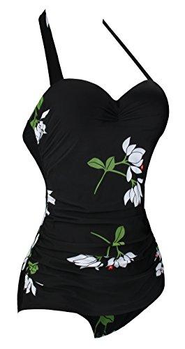 intero Costume scollato Angerella Costume Vintage Pin da Up bagno Bianco 50s qxX6zXw7