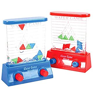 ArtCreativity Triangle Water Games, Set of 4, Red and Blue, Handheld Water Game for Kids, Goody Bag Fillers, Birthday Party Favors for Children, Road Trip Travel Toys for Boys and Girls