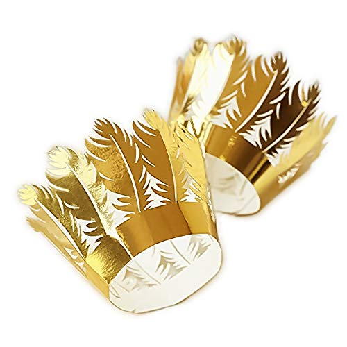 YOZATIA 60PCS Gold Cupcake Wrappers,Laser Cut Feather Cupcake Liner, Boho Party Decoration for Indian Wedding Favor Tribal Party Wild One Decoration(Gold) by YOZATIA