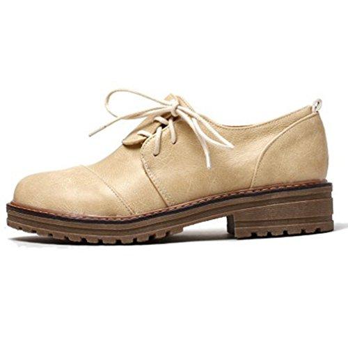 Hoxekle Dames Ronde Tenen Britse Stijl Schoenen / Geperforeerd / Kant / Kruis Bandjes / Vintage Oxford Schoenen Lage Top Wit
