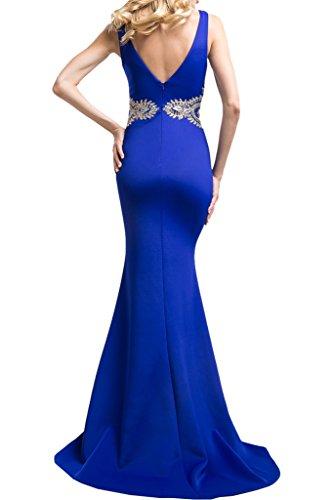 Abendkleider Braut mia Spitze mit Ballkleider Applikation V Abiballkleider Promkleider Flieder Blau La Lang Meerjungfrau Ausschnitt Dunkel xYq5fppAw