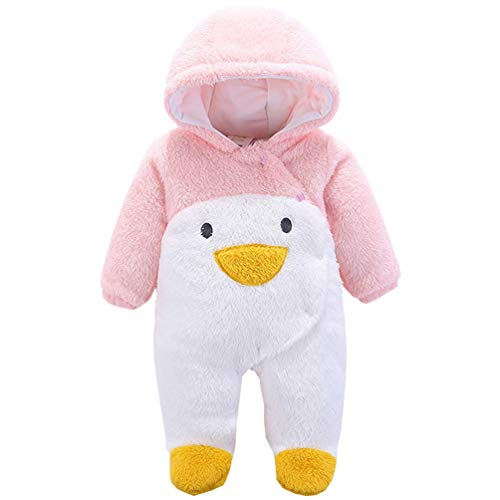 Hooded Dog Jumpsuit - FeelMeStyle Newborn Baby Boy Girl Winter Jumpsuit Outfit Hooded Onesie Thick Bodysuit Romper Cartoon Dog Coat (Penguin Pink, 9M(for 6-9M))