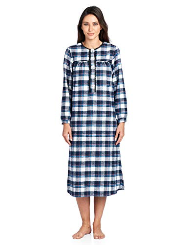 Ashford & Brooks Women's Flannel Plaid Long Sleeve Nightgown, Navy Blue, 4XL