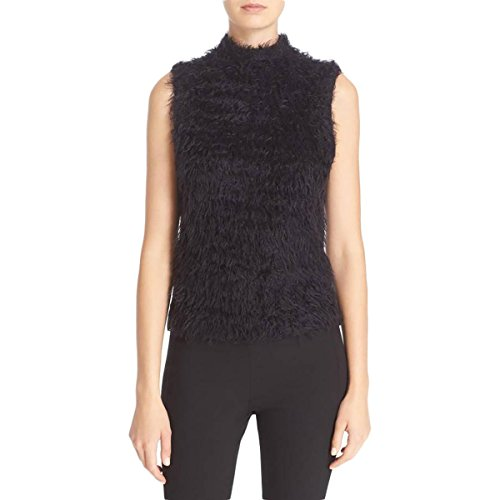 Tracy Reese Womens Mock Neck Faux Fur Crop Top Black L by Tracy Reese