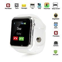 Smartwatch Aplus A1 Reloj Inteligente Teléfono con ranura SIM GSM MicroSD con cámara para android, Samsung, HTC, LG Motorola LCD Liberado, Blanco