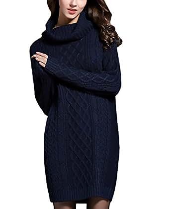 14a2e9dc9c HX fashion Vestidos Mujer Invierno De Punto Manga Larga Cuello Alto Casual  Basic Ropa Vintage Elegantes
