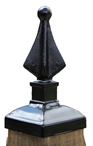 Wrought Iron Quad Spear Post Cap Finial for 4x4 Wood Post (Spears Finials)