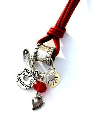 Red Leather Multiple Charms Keychain for Love and Good Fortune