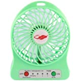 Niceshop 4-inch Vanes 3 Speeds Portable F95B mini USB Rechargeable Cooling Palm Leaf Fan with 18650 li-ion Battery (Green)