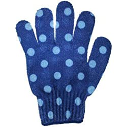 Bath Accessories Bathing Gloves, Blue Polka Dots