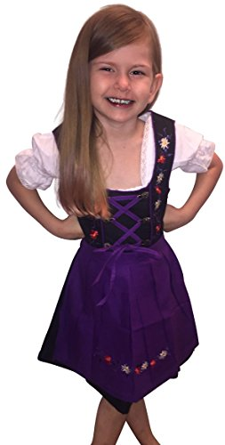 Dirndl World Childrens Dik02, German Bavarian 3 Piece Children Dirndl Dress for Oktoberfest, Blouse, Apron, Size 14