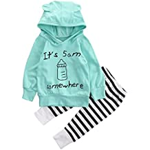 Emmababy Unisex Baby Clothes Outfit Birthday Outwear Hood Tops Casual Stripes Pants Leggings Set