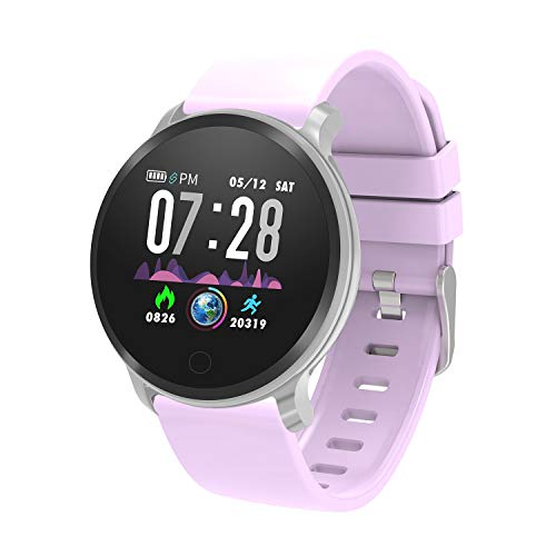(moreFit Vogue Smart Watch,IP68 Waterproof Activity Tracker Color Screen Watch with Heart Rate Monitor,Fitness Tracker with Sleep Monitors,Pedometer Stop Watch with Step Calorie Counter for Men,Purple)