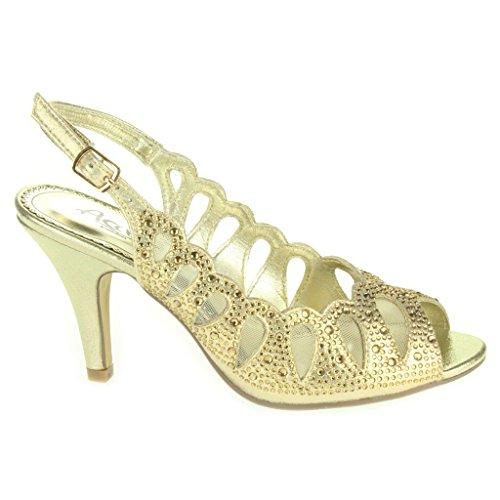 eb63fcdb7b Mujer Señoras Corte con laser Diamante Peep Toe Tacón medio Noche Boda  Fiesta Paseo Sandalias Zapatos ...