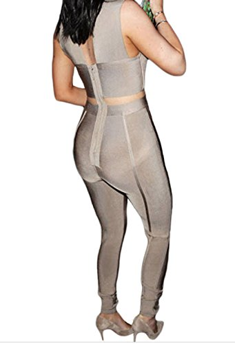 YeeATZ Cross Bust Bandage Jumpsuit(Khaki,M) by YeeATZ (Image #2)