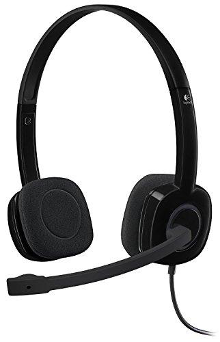 Logitech 3.5 mm Analog Stereo Headset H151 with Boom Microphone (981-000587) Plus Bonus USB Extenders