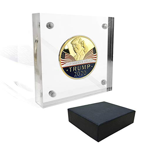 Indeep Magnetic Fasteners Acrylic Challenge Coin Display Stand Gift Set - Holds Single Medals and Coins up to 1.57'' x 0.11''