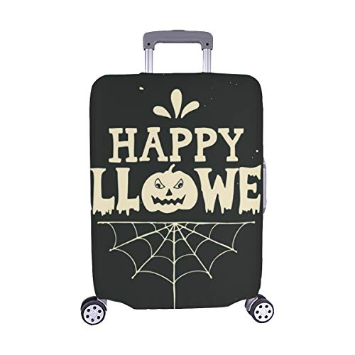 Hand Drawn Happy Halloween Lettering Pumpkin Spandex Trolley Case Travel Luggage Protector Suitcase Cover 28.5 X 20.5 Inch ()