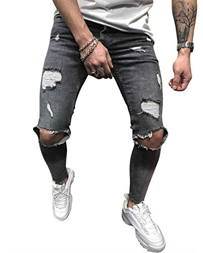 Fashion Abiti Jeans Fori Sguardo Grau Distrutto Comode Strech Casual Uomo Pantaloni Slim Denim Fit Taglie Vintage 6q74g