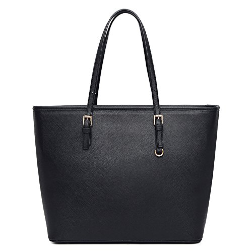 Vechoo - Cloth Bag Faux Leather Women's Klassik Klassik Schwarz Schwarz