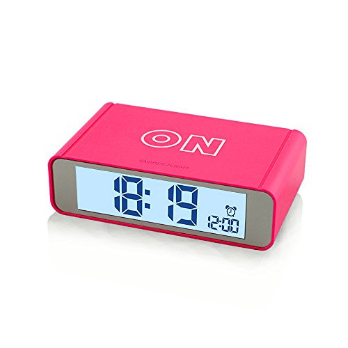 Flip Alarm Clock,FAMICOZY Bedside Travel Alarm Clock for Girls Kids Children Teens,Turn Alarm On/Off by Flip,Repeating Snooze,Soft Sensor Nightlight,12/24h Display,Small Stylish Digital Clock,Hot Pink (Kids Nap Time Alarm Clock)