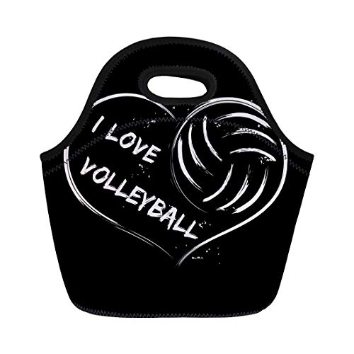 Semtomn Lunch Tote Bag Abstract I Love Volleyball of Heart on for Sports Reusable Neoprene Insulated Thermal Outdoor Picnic Lunchbox for Men Women -