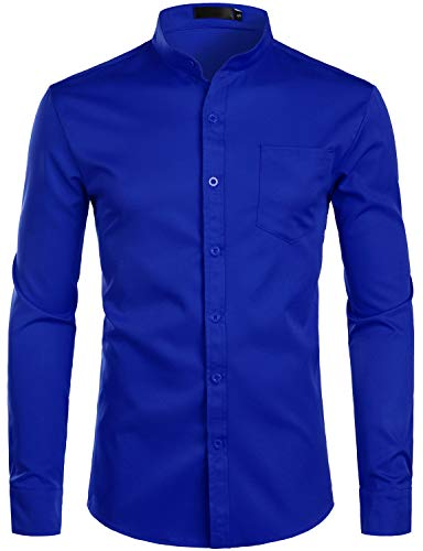 ZEROYAA Men's Banded Collar Slim Fit Long Sleeve Casual Button Down Dress Shirts with Pocket ZLCL09 Blue X-Large