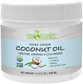 Organic Extra Virgin Coconut Oil by Sky Organics (16.9 oz) USDA Organic Coconut Oil, Cold-Pressed, Kosher, Cruelty-Free, Color Corrector, Skin Moisturizer, Hair Treatment & Baking