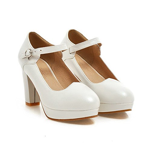 VogueZone009 Women's Buckle High-Heels PU Solid Round Closed Toe Pumps-Shoes White VRpdEylV