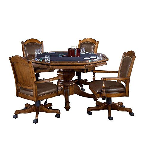 Nassau Game Table - Hillsdale Furniture 6060GTBC 5 Piece Nassau Game Set with Leather Back Game Chair