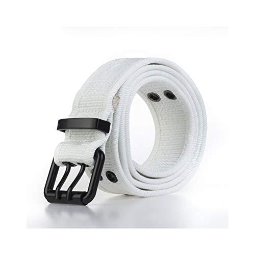 Web Wading Belt - 3.8cm Unisex Grommets Canvas Web Belts Solid Color Casual Double Hole Prong Buckle Belt