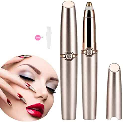 Eyebrow Hair Remover, HAOEN Painless Electric Eyebrow Trimmer Epilator for Women, Portable Eyebrow Hair Removal Razor (rose gold)