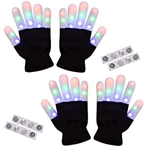 2 Pack-Amazer Light Gloves Finger Light Flashing LED Warm Gloves with Lights for Birthday Light Party Christmas Xmas Dance Thanksgiving Day Best Great Gifts - Extra a set of Batteries for More Fun