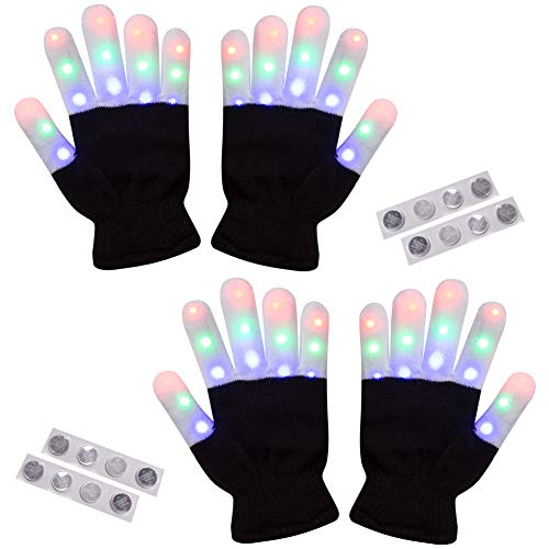 Amazer Light Gloves Child Finger Light Flashing LED Warm Gloves Lights Gloves Christmas Birthday Light Show Party Xmas Gift for More Fun-Adult, Black